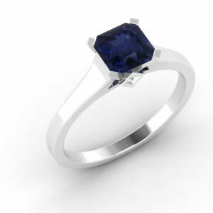 0.60 Ct Real Blue Sapphire Diamond Wedding Rings 14K Solid White Gold Size N M L