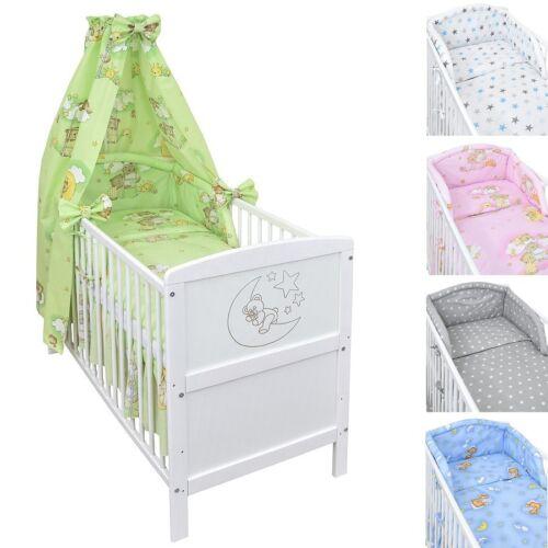 Babybett Kinderbett Juniorbett weiß Mond 140x70 Bettwäsche 135x100 Bettset 22tlg