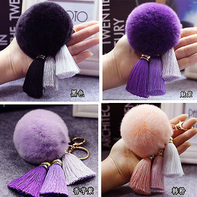 Soft Rabbit Fur Ball PomPom Cell Phone Car Tassel Pendant Handbag Key Chain Ring