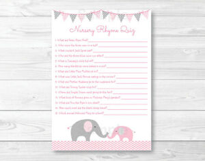 Details About Pink Chevron Elephant Baby Shower Nursery Rhyme Quiz Printable