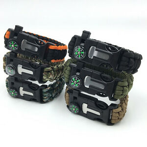 Paracord-Survival-Bracelet-Compass-Flint-Fire-Starter-Whistle-Camping-Gear-EW