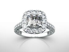 2.25 CT CUSHION CUT G/VS2  DIAMOND  SOLITAIRE ENGAGEMENT RING 18K WHITE GOLD
