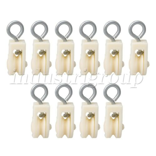 10PCS Plastic Single Wheel Pulley 8mm Block Swivel Snatch Rope Hanging Wire