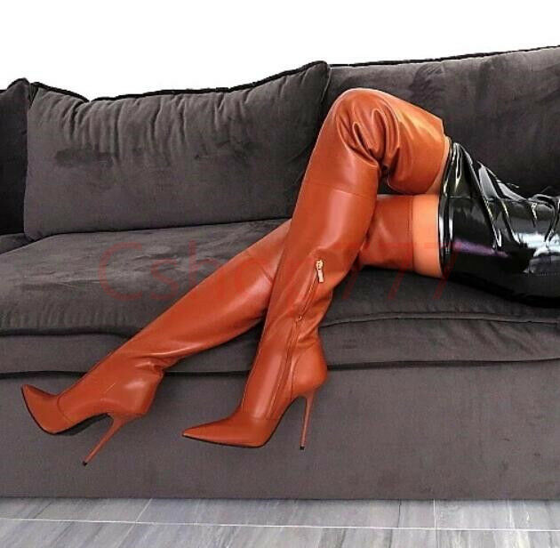 Womens Ladies Sexy Over The Knee High Boots Genuine Genuine Genuine Leather Night Clubwear Stile d17504