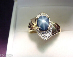 GENUINE-BLUE-STAR-SAPPHIRE-1-41-CTS-with-DIAMONDS-14K-GOLD-RING