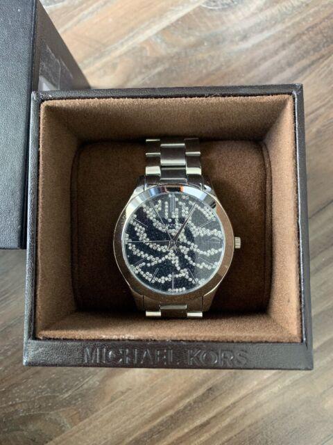 MICHAEL KORS SLIM RUNWAY CRYSTAL PAVE DIAL ST.STEEL WOMEN'S WATCH MK3314 NEW