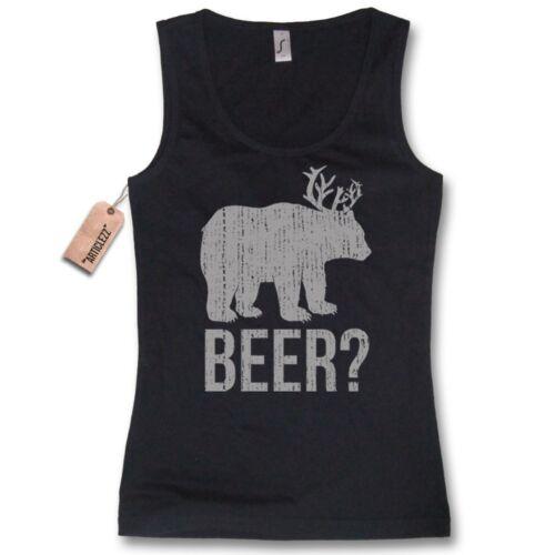 BEER? bear deer funshirt lustig schwarz Gr Damen Tank Top S M L XL