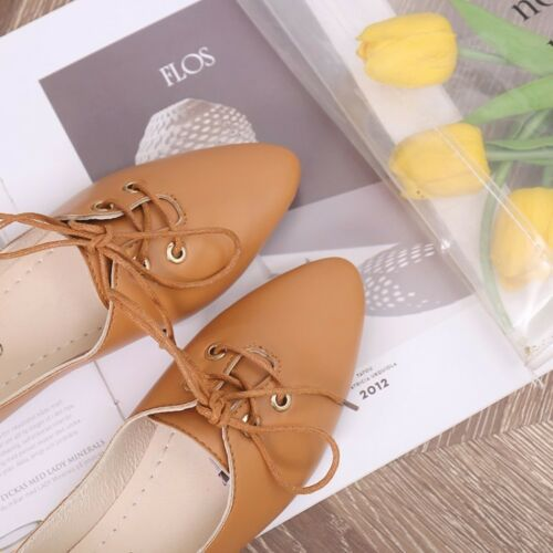 WOmens Cut out Flats Oxfords Point toe Lace Ups Loafers Leather Slipper D6 Shoes