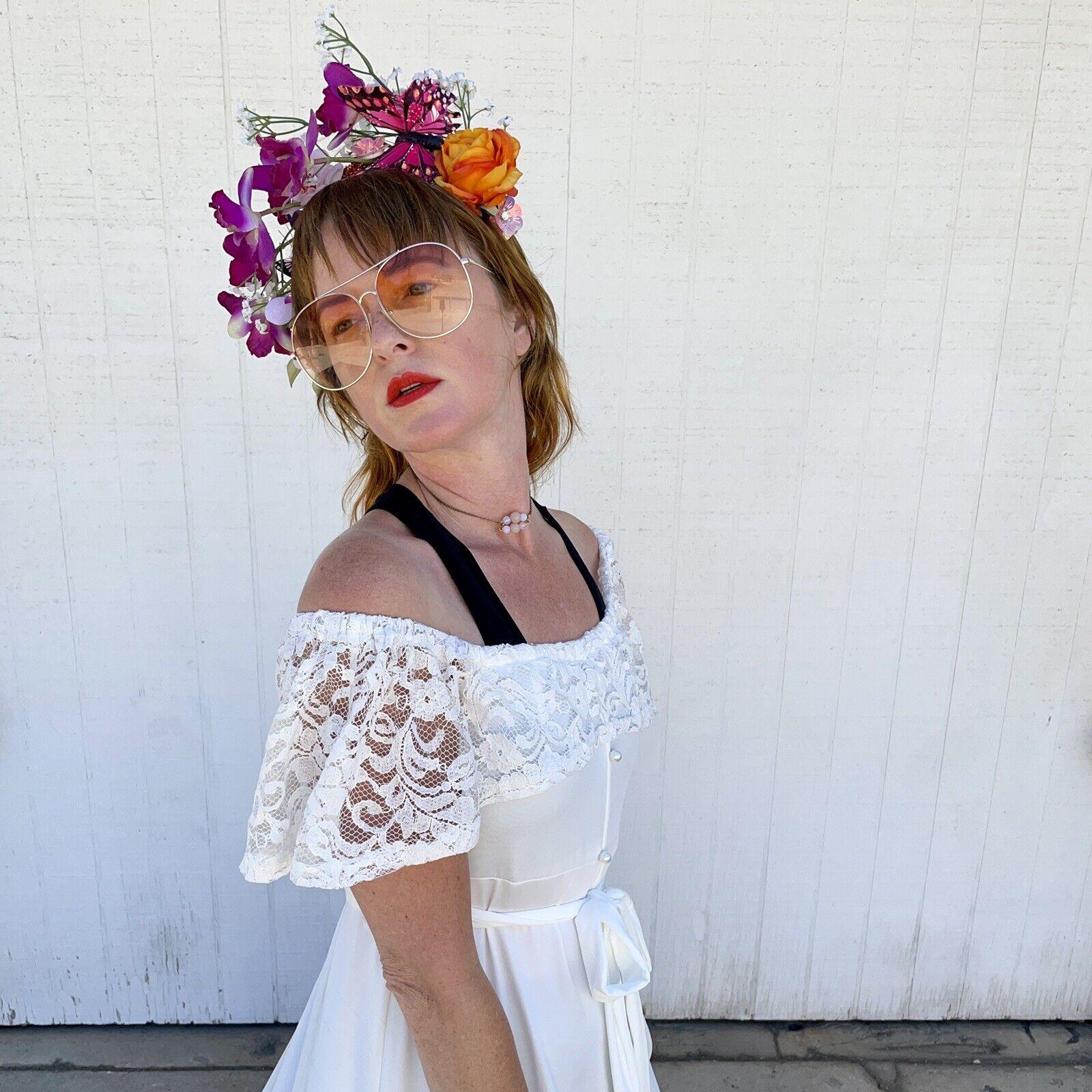 Vintage White Lace Gown Wedding Lingerie Prairie … - image 8