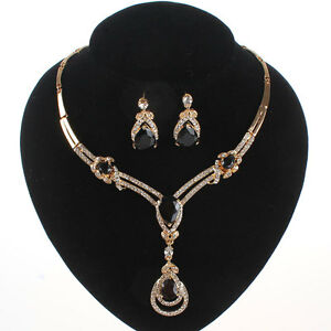 BlLACK-GARNET-ZIRCON-PENDANT-GOLD-PLATED-CRYSTAL-NECKLACE-EARRING-JEWELRY-SET