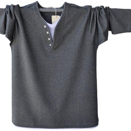 Men Henley Shirt Long Sleeve T-Shirt Cotton Button Neck Grandad Top Oversize New