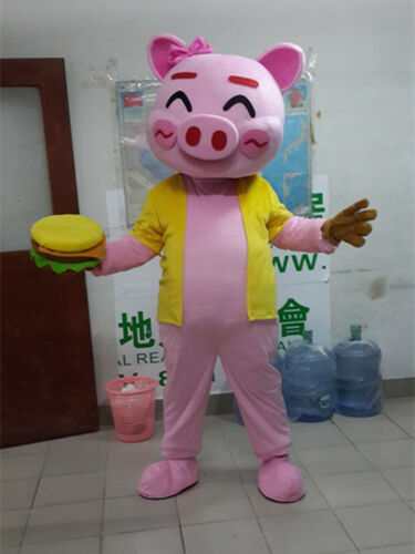 Pink Happy Pig Mascot Costumes Cartoon Animal Parade Outfits Dress Cosplay Party