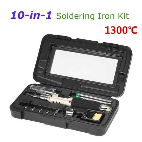 10-in-1 Gas Soldering Self-Ignition Iron Cordless Welding Torch Kit Tool Set Pen