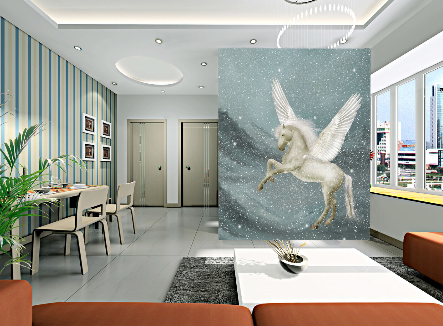 3D Flying Horse 0103 WallPaper Murals Wall Print Decal Wall Deco AJ WALLPAPER