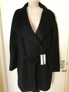 uk10 With M Size Collar 12 Wrap Waterfall Black Handmade Zara Coat zgxnwTtHq