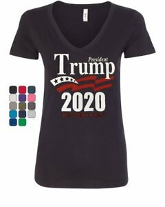 Keep-America-Great-Women-039-s-V-Neck-T-Shirt-President-Trump-2020-MAGA-Republican