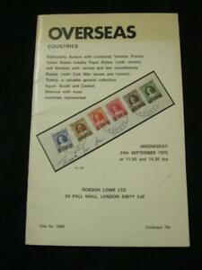 Robson Lowe Auction Catalogue 1975 Outre-mer Avec L'autriche Papal Russie Egypte Etc-afficher Le Titre D'origine