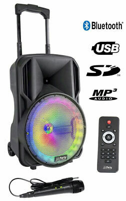 "PARTY-10RGB TRAGBARES AKKU 10/"" SOUNDSYSTEM MIT MIKROFON FERNBEDIENUNG USB RADIO"