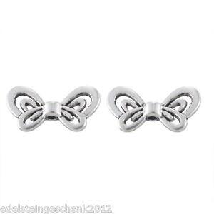 50-Antiksilber-Metallperlen-Beads-Spacer-Charms-Schmetterling-17-5x9mm