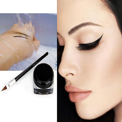 Pro Black Waterproof Eye Liner Eyeliner Gel Makeup Cream Cosmetic + Brush Set