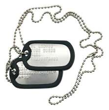 PAIR SET U.S. PERSONALISED STAINLESS STEEL ARMY MILITARY DOG TAGS -THEDOGTAGCO