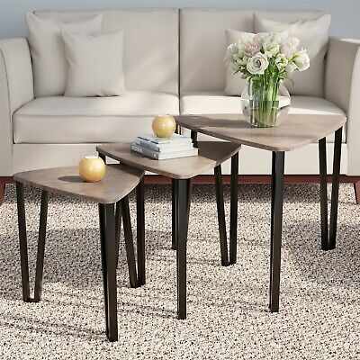 3 Piece Triangle Modern Nesting Accent End Tables Nightstand Contemporary Look Ebay