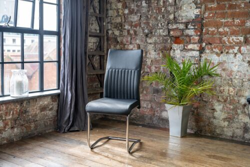 CYRA Dining Chair (Stunning Modern Black Faux Leather DC With Chrome Legs)