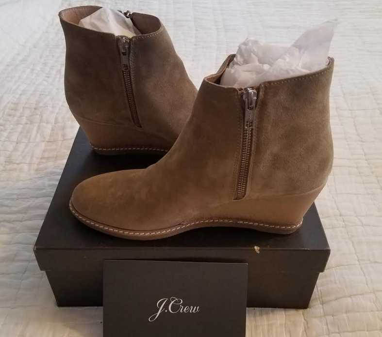 NEW W BOX WOMENS 6 8 11 12 J CREW MACALISTER ZIP WEDGE BOOTS BOOTIES FADED CHINO