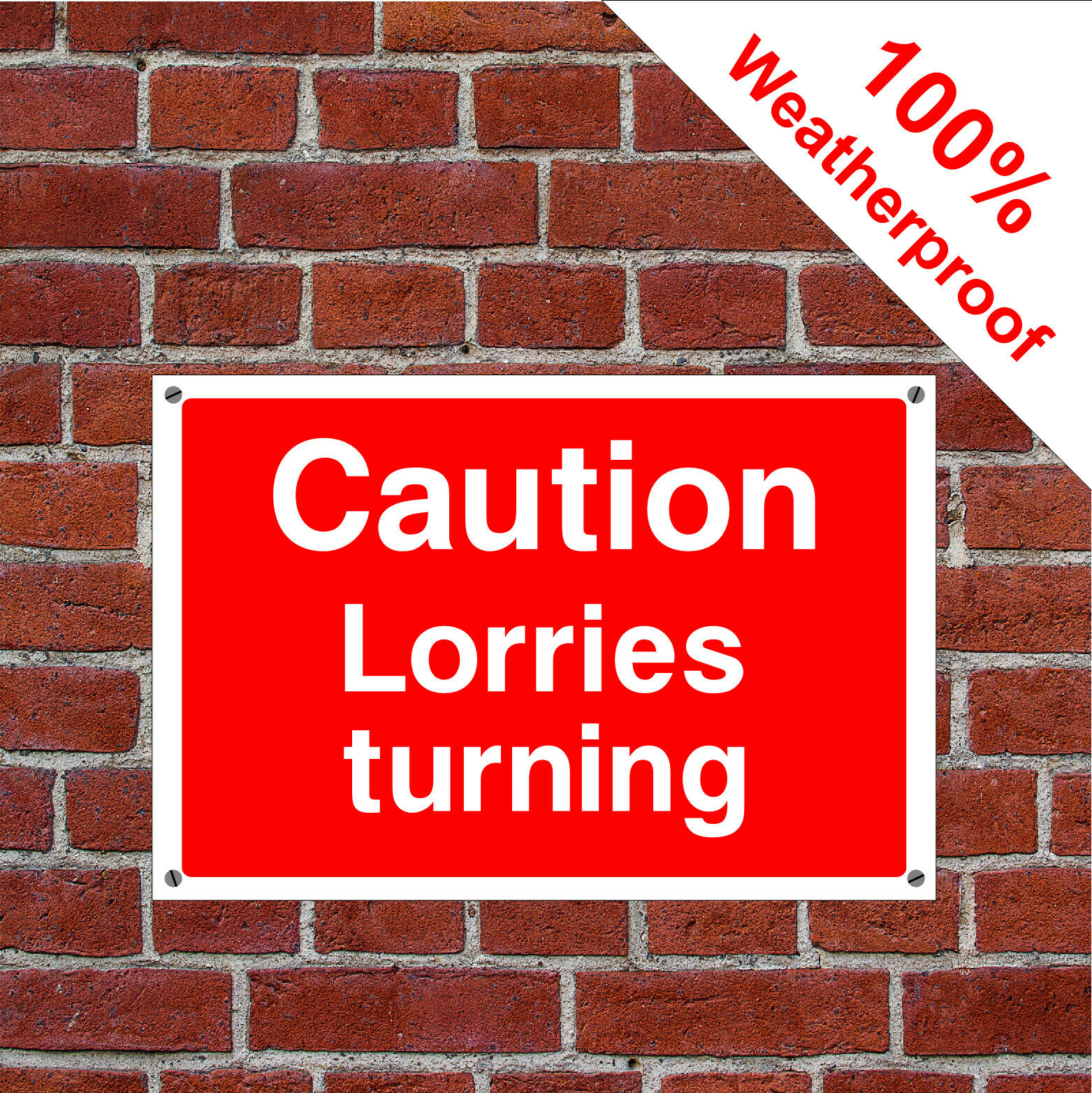 Caution lorries turning Health and safety signs CONS066 durable and weatherproof