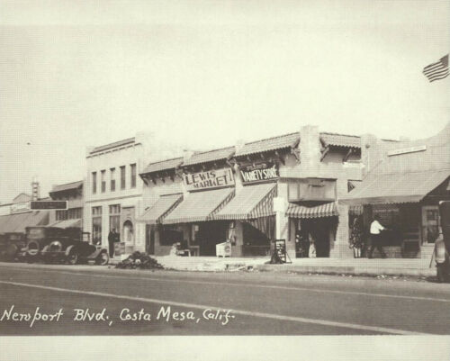 "COSTA MESA Old Cars NEWPORT BLVD Lewis Market 1930/'s Photo Print 1202 11/"" x 14/"""