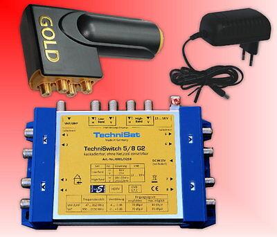 TechniSat TechniSwitch 5/8 G2 Multischalter mit Netzteil + Gold Quattro  LNB
