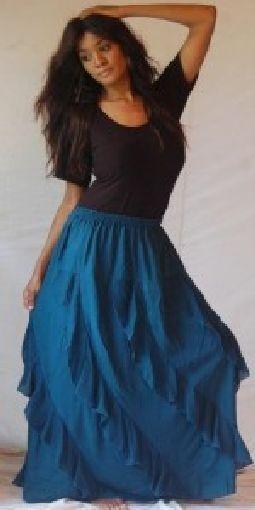Teal skirt long diagonal OS 1X 2X 3X 4X 5X 6X  plus ruffles asym