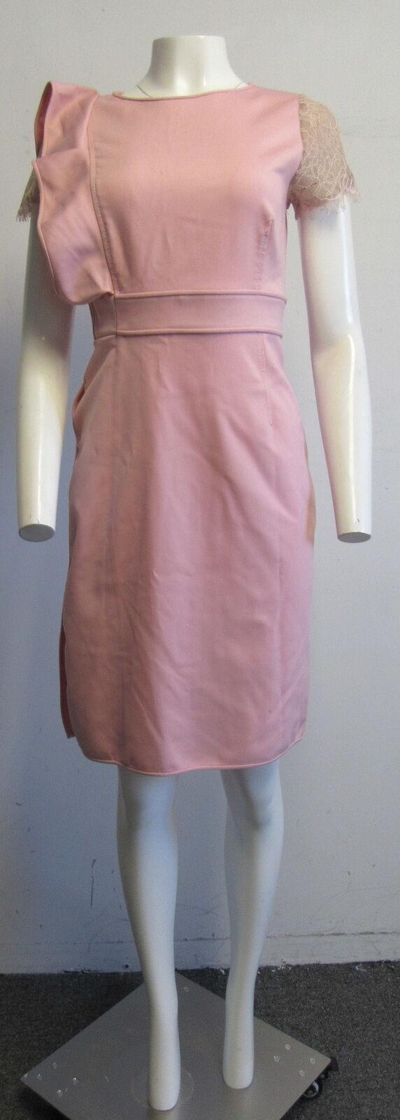 VALENTINO TECHNO COUTURE pink pink pink ruffled sleeve sheath dress SZ 10 2bbaf8