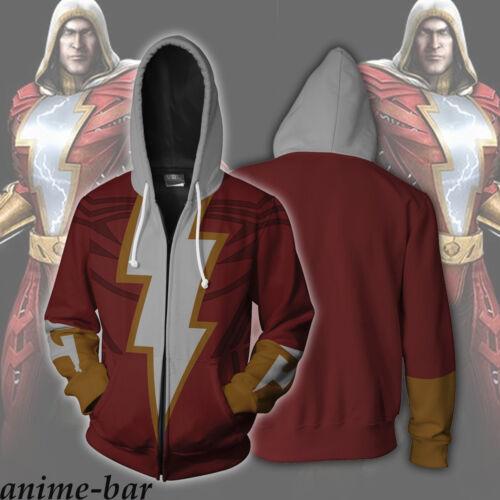 Captain Marvel 3D Printed Hoodies Shazam Billy Batson Zipper Fashion Hooded