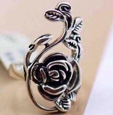 Littlebella Silver Rose Vine Filigree Statement Jewellery Victorian Ring Size M