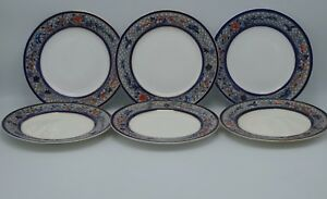 1879-ROYAL-WORCESTER-CHINOISERIE-COBALT-RUST-SET-OF-6-PLATES