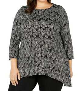 Alfani-Womens-Blouse-Black-Size-1X-Plus-Tunic-Jersey-Scoop-Neck-Printed-49-043