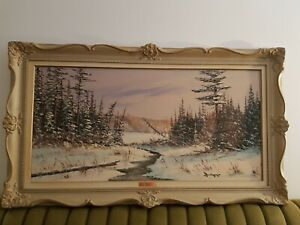 Oil-Painting-Cole-Bowman-Vintage-Authentic-Framed-Signed-Canadian-Original-rare