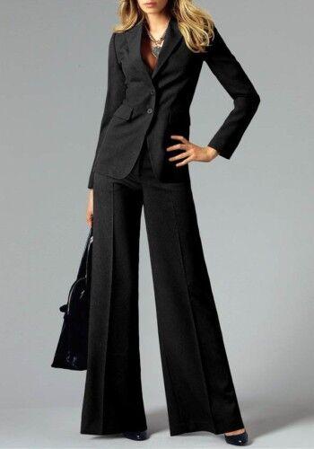 2tlg. Tailleur-pantalon Neuf Laura Scott Taille 32-34 Femmes Costume Noir Blazer Pantalon