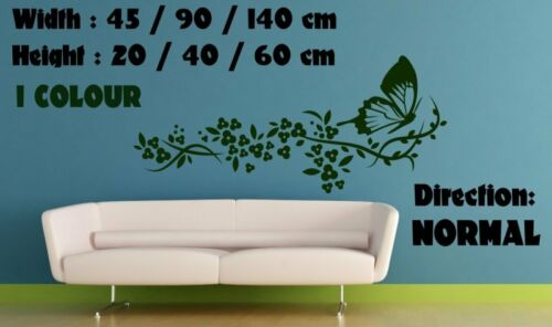 Delicate Flowers /& Butterfly Art Wall Sticker Decal Transfer Decor 20cm x 45cm