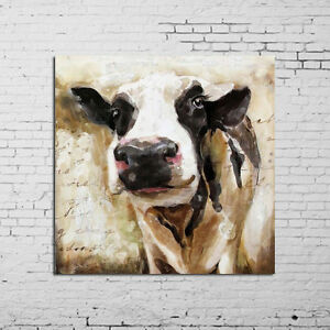Animal-Oil-Painting-Mordern-Abstract-Cute-Cow-Wall-Art-On-Canvas-Hand-Painted