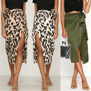 Womens-Leopard-Print-Bandage-Midi-Skirt-Ladies-Sexy-Wrap-Dress-Party-Club-Wear