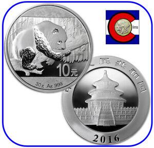 2016 China Panda 10 Yuan 30 gr 0.999 Silver BU Chinese Coin
