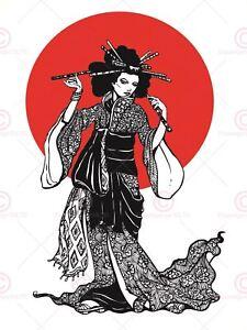 spesso PITTURA DISEGNO Donna Geisha Giapponese Sol Levante Tela Art Print OU94