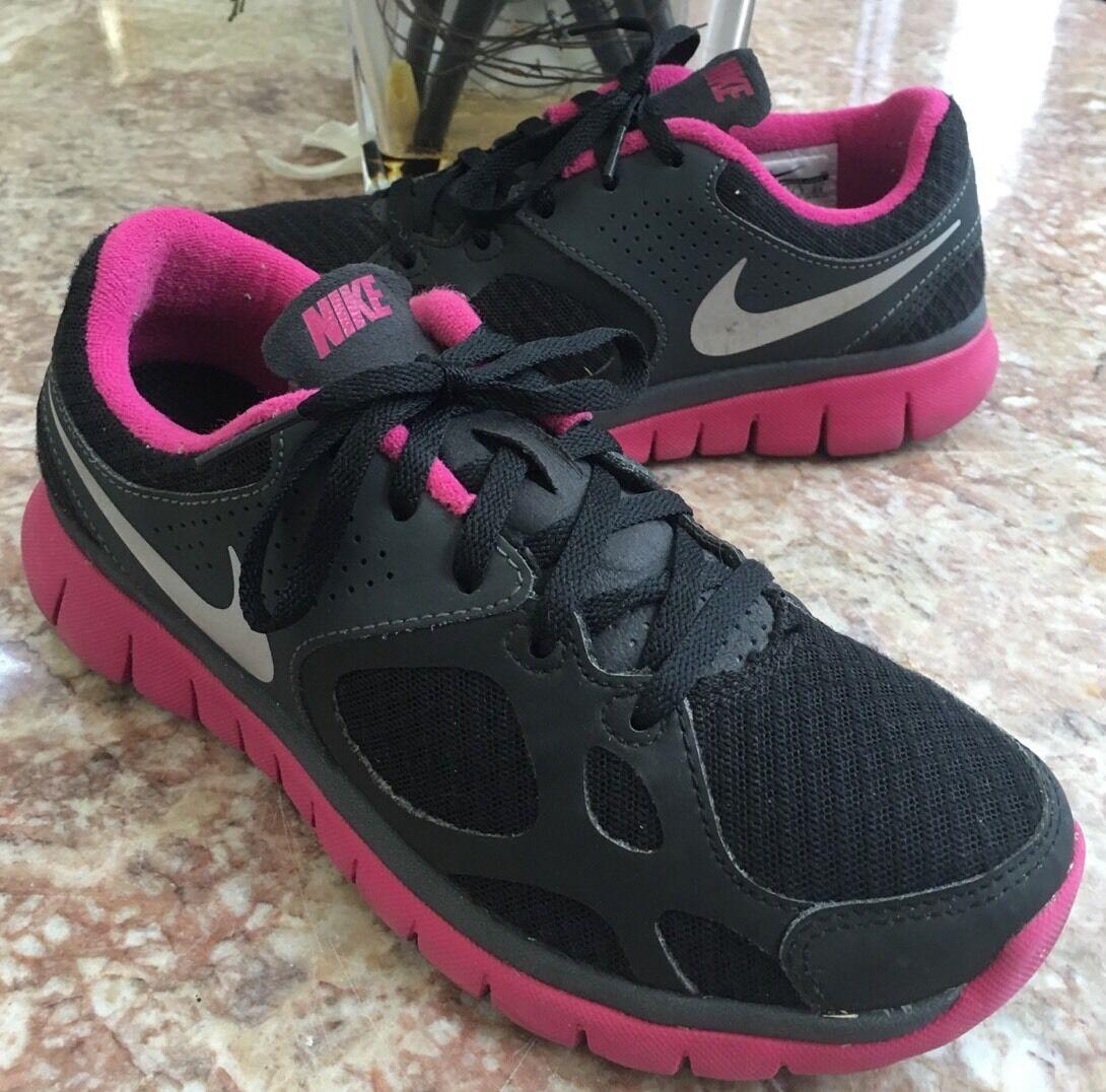 Nike Flex Run Women's Black/Pink Running Trainers Sneakers Shoes Sz 6 512108-009 Casual wild