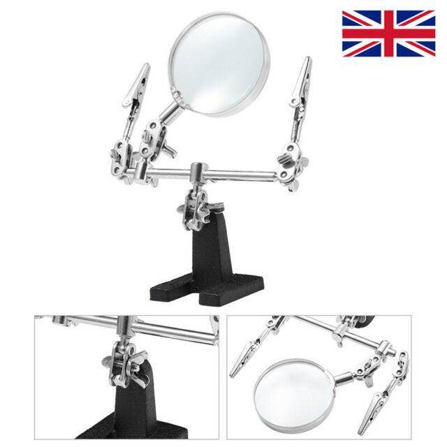 Helping Hand 5X Magnifying GLASS &STAND Clip Grip Clamp Vice Solder Model Holder