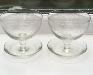 Vintage-Pair-Etched-Glass-Trifle-Dessert-Dishes-10-Cm