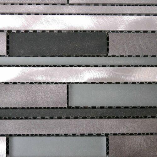 Edelstahlmosaik mit Glas Stäbchenformat schwarz silber mix Musterstück Alicante