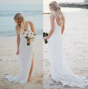 0414314b349c Lace Boho Beach Wedding Dress Slit Summer Bridal Dress Custom Size 0 ...