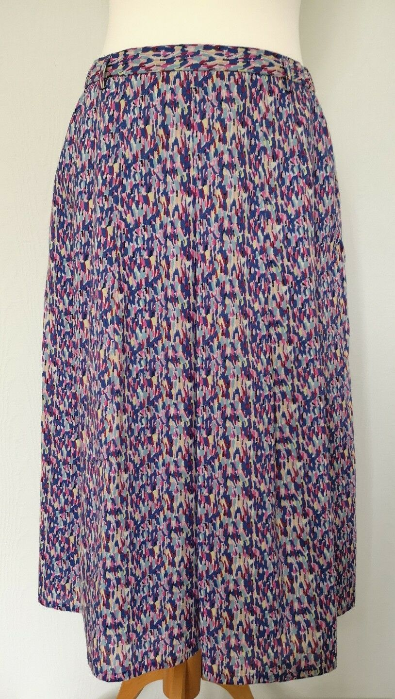 Cotswold Collections Multi Coloured Patterned Soft Pleat Skirt Size 14